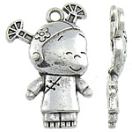 Character Shaped Zinc Alloy Pendants, Girl, antique silver color plated, nickel, lead & cadmium free, 20x28x3mm, Hole:Approx 2mm, Approx 492PCs/KG, Sold By KG