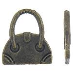 Zinklegering Handtas Hangers, Zinc Alloy, antiek brons plated, nikkel, lood en cadmium vrij, 14x16x2mm, Ca 869pC's/KG, Verkocht door KG