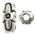 Zinc Alloy Jewelry Beads, Oval, antique silver color plated, nickel, lead & cadmium free, 4x9mm, Hole:Approx 1.5mm, Approx 1666PCs/KG, Sold By KG