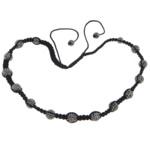 Ожерелья Шамбал, Нейлоновый шнурок, с Горный хрусталь глины проложить шарик & Немагнитный гематит, с 54 шт горными хрусталями & регулируемый, 10mm, 8mm, Продан через Приблизительно 20-27 дюймовый Strand