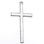 Wisior ze stopu cynku w kształcie krzyża, Stop cynku, Platerowane kolorem starego srebra, bez zawartości ołowiu i kadmu, 35x17x1.80mm, otwór:około 1.5mm, około 454komputery/KG, sprzedane przez KG