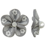 Polymer Clay Beads, Flower, grey, 31x16mm, Hole:Approx 4mm, 100PCs/Bag, Sold By Bag