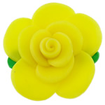 Polymer Clay Beads, Flower, yellow, 51x18mm, Hole:Approx 2mm, 100PCs/Bag, Sold By Bag