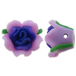 Polymer Clay Beads, Flower, purple, 17x10mm, Hole:Approx 2mm, 100PCs/Bag, Sold By Bag