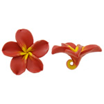 Polymer Clay Beads, Flower, orange, 52.50x50x22.50mm, Hole:Approx 5mm, 100PCs/Bag, Sold By Bag