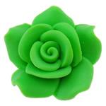 Koraliki z gliny polimerowej, Glina polimerowa, Kwiat, zielony, 24x23x11.50mm, otwór:około 2mm, 100komputery/torba, sprzedane przez torba