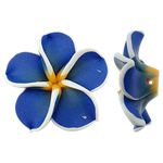 Polymer Clay Beads, Flower, blue, 32x30.50x11.50mm, Hole:Approx 2mm, 100PCs/Bag, Sold By Bag