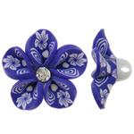Polymer Clay Beads, Flower, purple, 31x14mm, Hole:Approx 4mm, 100PCs/Bag, Sold By Bag