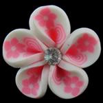 Koraliki z gliny polimerowej, Glina polimerowa, Kwiat, biały, 30x15mm, otwór:około 4mm, 100komputery/torba, sprzedane przez torba