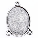 Zinc Alloy Connector Setting, Oval, antique silver color plated, 1/2 loop, lead & cadmium free, 28x20x2.80mm, Hole:Approx 2mm, Inner Diameter:Approx 22x16mm, Approx 303PCs/Bag, Sold By Bag