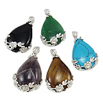 Mixed Gemstone Pendants, with Zinc Alloy, Teardrop, natural, mixed colors, 26x42x8mm, Hole:Approx 5x6mm, 30PCs/Bag, Sold By Bag