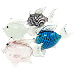 Blown Lampwork Decoration, Animal, fish shape, 35.5x75x58mm, 5PCs/Group, Sold by Group