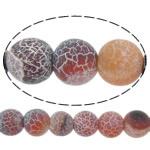 Natuurlijke Effloresce Agaat kralen, Ronde, rood, 14mm, Gat:Ca 1.5mm, Lengte:Ca 15 inch, 5strengen/Lot, Verkocht door Lot