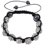 Resin Shamballa Bracelet, nine resin rhinestone beads &amp; hematite beads, with hand-knitted nylon cord, adjustable, fashion style, 10x12mm, Sold per 7.5-Inch Strand