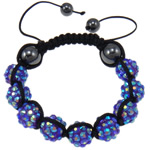 Resin Shamballa Bracelet, nine resin rhinestone beads &amp; hematite beads, with hand-knitted nylon cord, adjustable, fashion bracelet, 10x12mm, 10Strands/Lot, Sold by Lot