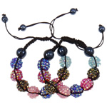 Resin Shamballa Bracelets, with Nylon Cord & Non Magnetic Hematite & Resin Rhinestone, woven, with rhinestone, mixed colors, 14x12.50mm, Length:7.5 Inch, 10Strands/Lot, Sold By Lot