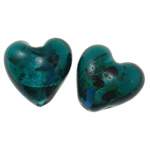 Silver Foil Lampwork Beads, Heart, Peacock Blue, 20x21x14mm, Hole:Approx 1.5-2.5mm, 100PCs/Bag, Sold By Bag