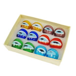 кольцо Лампворк, Лэмпворк, разноцветный, 27x27x23mm, отверстие:Приблизительно 18mm, размер:8, 12ПК/Box, продается Box