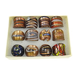 кольцо Лампворк, Лэмпворк, золотой песок, разноцветный, 26x27x25mm, отверстие:Приблизительно 17mm, размер:7, 12ПК/Box, продается Box