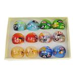 кольцо Лампворк, Лэмпворк, с фрагментом миллефиори, разноцветный, 29x28x24mm, отверстие:Приблизительно 18mm, размер:8, 12ПК/Box, продается Box