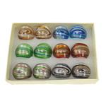 кольцо Лампворк, Лэмпворк, золотой песок и серебряное фольгирование, разноцветный, 29x28x23mm, отверстие:Приблизительно 18mm, размер:8, 12ПК/Box, продается Box