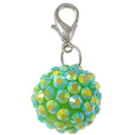 Resin Pendant, Round, green, 20mm, Hole:Approx 4x4.5mm, 50PCs/Bag, Sold By Bag