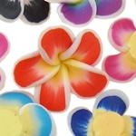 Koraliki z gliny polimerowej, Glina polimerowa, Kwiat, mieszane kolory, 18x9-22x8mm, otwór:około 1-2mm, 100komputery/torba, sprzedane przez torba