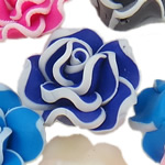Polymer Clay Beads, Flower, mixed colors, 20x11-22x12mm, Hole:Approx 1-2mm, 100PCs/Bag, Sold By Bag
