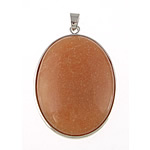 Natural Aventurine Pendants, Red Aventurine, with Brass, Oval, platinum color plated, nickel, lead & cadmium free, 32x42x8mm, Hole:Approx 4x6mm, Sold By PC