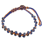 Friendship Bracelet, natural sodalite beads &amp; leather cord &amp; brass clasp &amp; cotton cord, 4x4.5mm, 11mm, 5Strands/Lot, Length:approx 8 Inch, Sold by Lot