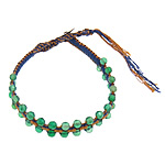 Friendship Bracelet, Green Aventurine, with Leather & Cotton Cord & Brass, woven, 4x4.5mm, 11mm, Length:Approx 8 Inch, 10Strands/Lot, Sold By Lot
