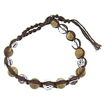 Friendship Bracelet, picture jasper &amp; faceted crystal beads &amp; brass clasp &amp; cotton cord, 8mm, 10Strands/Group, Length:approx 9 Inch, Sold by Group