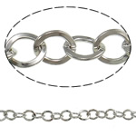 Iron Oval Chain, platinum color plated, nickel, lead & cadmium free, 6.40x7.50x1.20mm, 50m/Lot, Sold By Lot