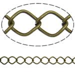Iron Rhombus Chain, antique bronze color plated, nickel, lead & cadmium free, 10x12.60x1.40mm, Length:25 m