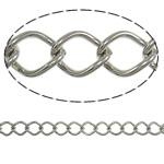 Iron Rhombus Chain, platinum color plated, nickel, lead & cadmium free, 7x9.70x1.40mm, Length:25 m