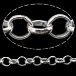 Iron Rolo Chain, silver color plated, nickel, lead & cadmium free, 5.80x1.40mm, 25m/Lot, Sold By Lot