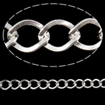 Iron Rhombus Chain, silver color plated, nickel, lead & cadmium free, 6.50x8.50x1.20mm, 25m/Bag, Sold By Bag