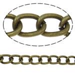 Żelazny drut na pętli, żelazo, Owal, Platerowane kolorem starego brązu, bez zawartości niklu, ołowiu i kadmu, 7.50x5.50x1.30mm, 50m/torba, sprzedane przez torba