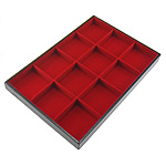 Skórzana wystawa na bransolety, PU, ze Welwet & Drewno, Prostokąt, czerwony, 24x35cm, 3cm, 10komputery/wiele, sprzedane przez wiele