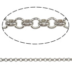 Iron Rolo Chain, platinum color plated, nickel, lead & cadmium free, 2.50x0.80mm, Approx 100m/Bag, Sold By Bag