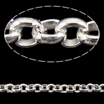 Iron Rolo Chain, silver color plated, nickel, lead & cadmium free, 2.50x0.90mm, 100m/Lot, Sold By Lot