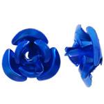 Aluminium bloem kralen, geschilderd, blauw, 8x8.50x5mm, Gat:Ca 1.1mm, 950pC's/Bag, Verkocht door Bag