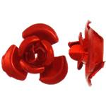 Aluminium bloem kralen, geschilderd, rood, 8x8.50x5mm, Gat:Ca 1.1mm, 950pC's/Bag, Verkocht door Bag