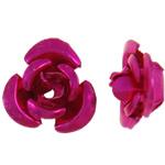 Aluminium bloem kralen, geschilderd, fuchsia roze, 6x7x4mm, Gat:Ca 1mm, 950pC's/Bag, Verkocht door Bag