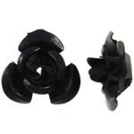 Aluminium bloem kralen, geschilderd, zwart, 6x7x4mm, Gat:Ca 1mm, 950pC's/Bag, Verkocht door Bag