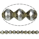 Imitation CRYSTALLIZED™ Element Crystal Beads, Bicone, platinum color plated, faceted & imitation CRYSTALLIZED™ element crystal, Smoky Quartz, 10mm, Hole:Approx 1.5mm, 33PCs/Strand, Sold Per 12.5 Inch Strand