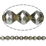 Jäljitelmä CRYSTALLIZED™ kristalli helmiä, Bicone, platina väri päällystetty, kasvot & jäljitelmä CRYSTALLIZED™n, Savukvartsi, 10mm, Reikä:N. 1.5mm, 33PC/Strand, Myyty Per 12.5 tuuma Strand