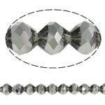 Imitation CRYSTALLIZED™ Element Crystal Beads, Bicone, platinum color plated, faceted & imitation CRYSTALLIZED™ element crystal, Silver Champagne, 10mm, Hole:Approx 1.5mm, 33PCs/Strand, Sold Per 11.5 Inch Strand