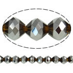 Imitation CRYSTALLIZED™ Element Crystal Beads, Bicone, platinum color plated, faceted & imitation CRYSTALLIZED™ element crystal, 10mm, Hole:Approx 1.5mm, 33PCs/Strand, Sold Per 11.5 Inch Strand