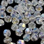 Koraliki z kryształów CRYSTALLIZED™ego, CRYSTALLIZED™, Podwójny stożek, kryształowy, 4mm, otwór:około 0.5mm, 50komputery/torba, sprzedane przez torba